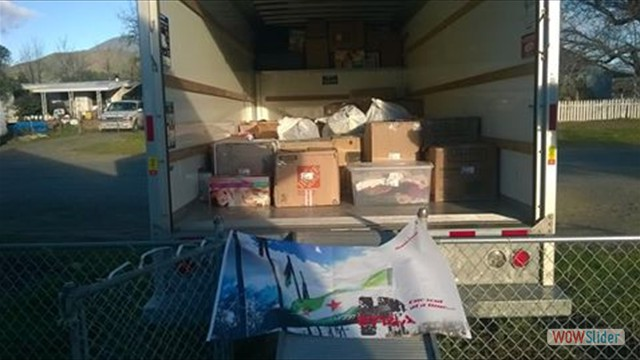 U-haul ready to be sent to Oakland Bay port for Syria